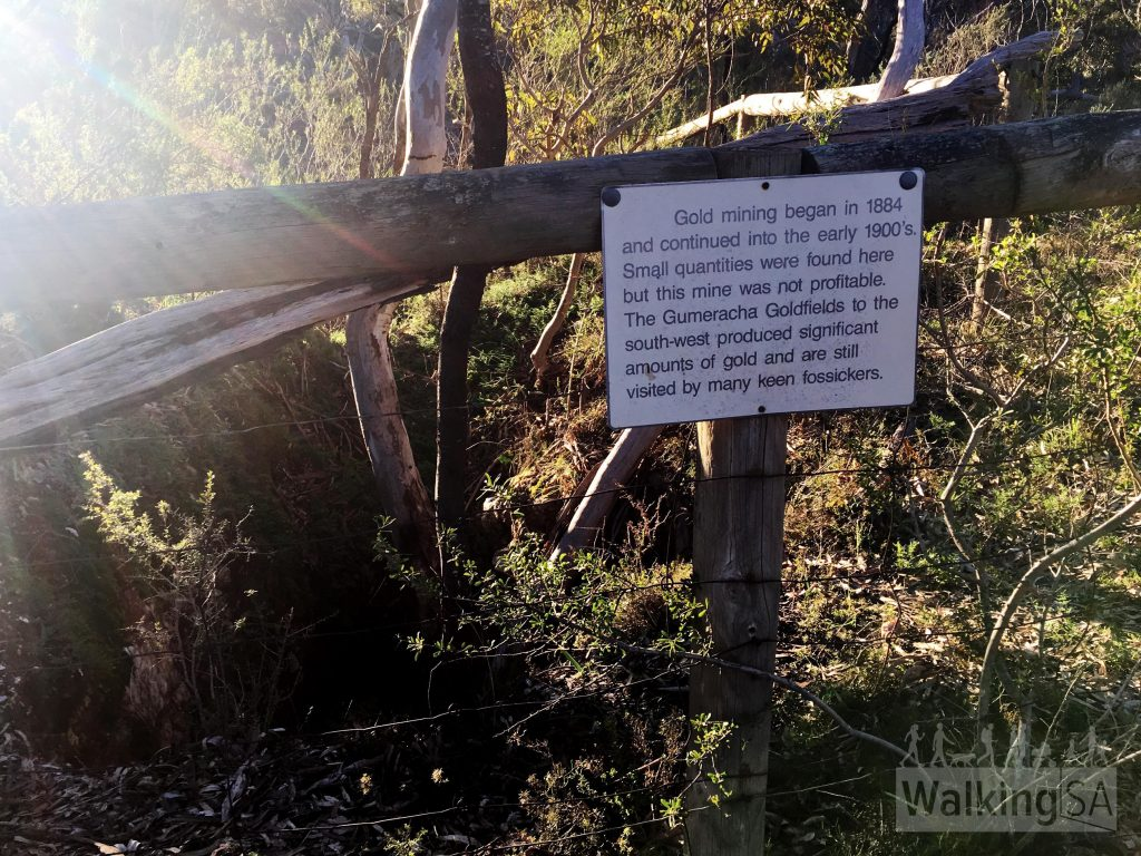 "Old mining shaft (fenced) on the Jenkins Scrub Walking Trail. The sign reads: ""Gold mining began in 1884 and continued into the early 1900s. Small quantities were found here but this mine was not profitable. THe Gumeracha Goldfields to the south-west produced significant amounts of gold and are still visited by many keen fossickers."