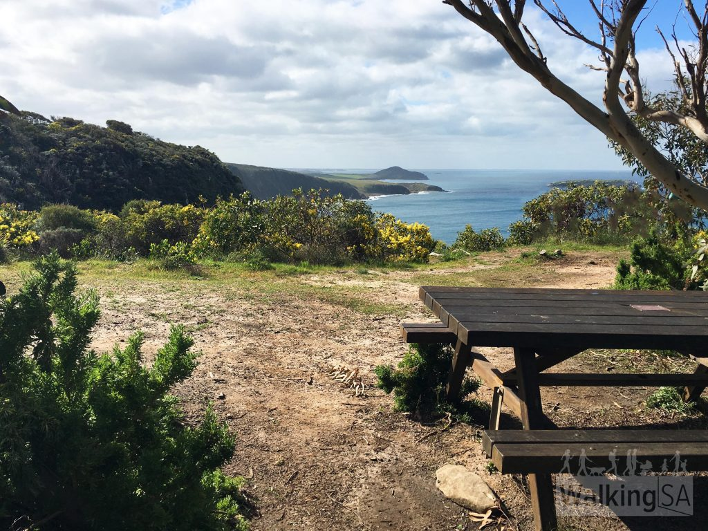 Picnic table at the Waitpinga cliffs lookout