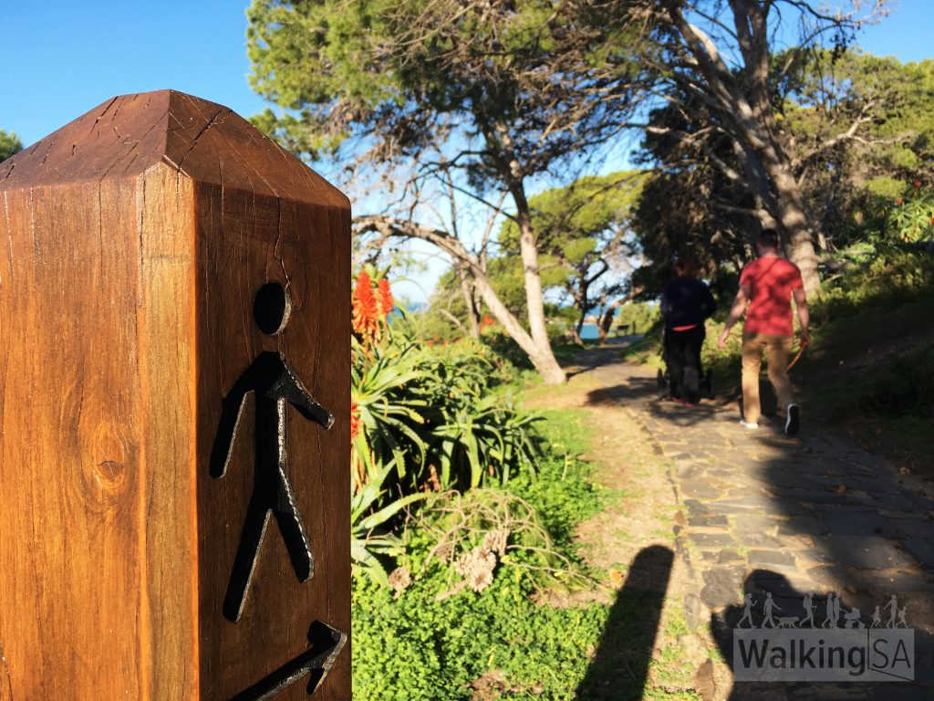 The Harbourmasters Walking Trail is well marked with these trail posts