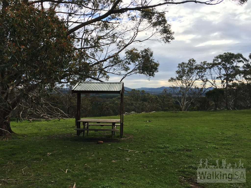 The picnic bench and shelter near Mt Pleasant Summit