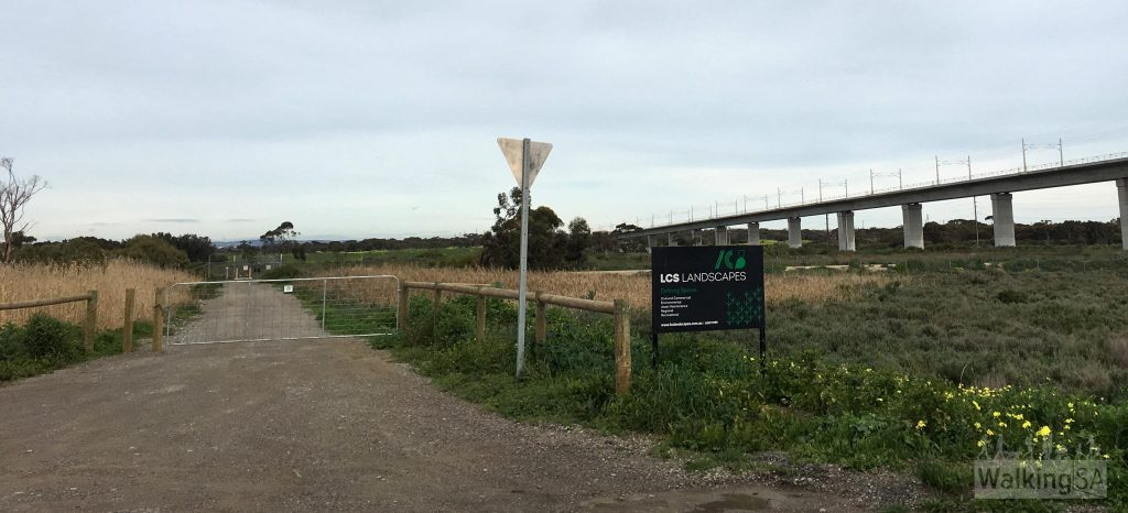 The western entry to the Noarlunga Downs Wetland Trail off of River Road