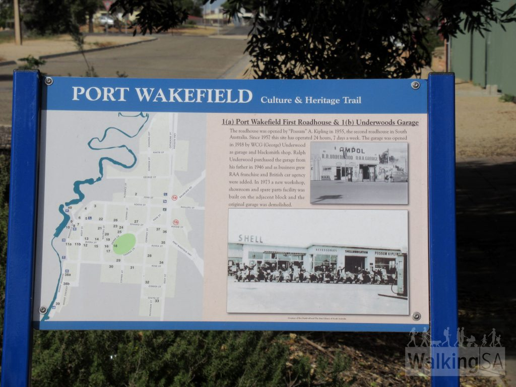 There are interpretive signs for the Port Wakefield Historical Walk, also know as the Culture & Heritage Trail