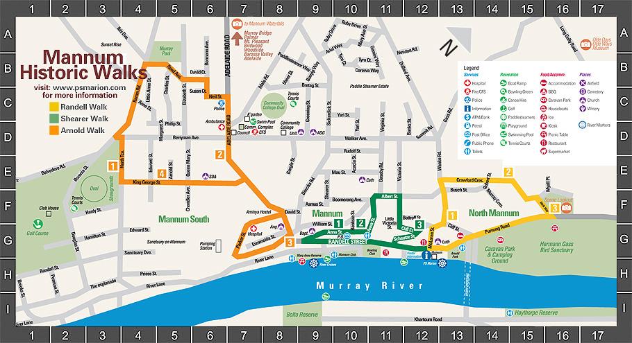 map of historical mannum walks