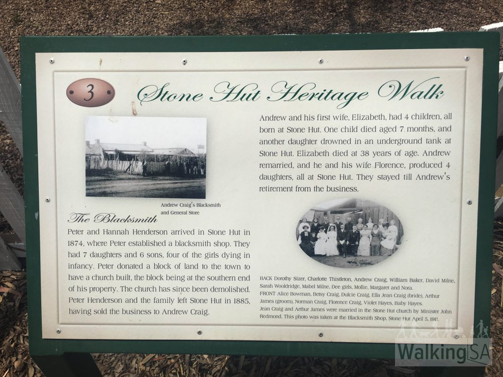 Each of the 16 historical sites on the Stone Hut Historical Walk has an interpretive sign with more history