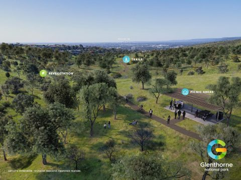 Concept for including O'Halloran Hill Recreation Park into a new Glenthorne National Park.