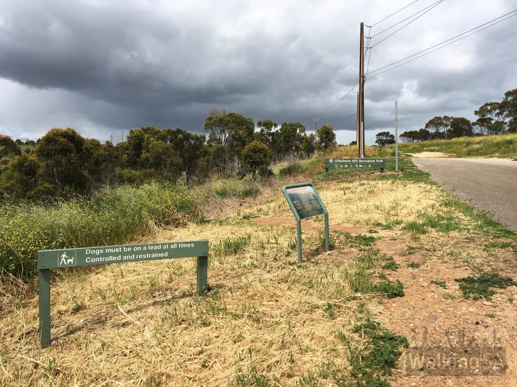 Trailhead at Gate 12 at the end of Morphett Road, O'Halloran Hill. The walking trail to the left isn't on the official maps but is in the route detailed on this walk