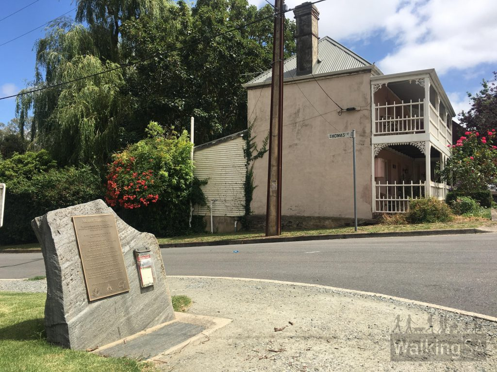 """Brochures can be collected from this plaque on the corner of the main street and Thomas St, or <a href=""""https://www.walkingsa.org.au/wp-content/uploads/2016/12/Mount-Torrens-Heritage-Trail.pdf"""">downloaded</a>."""