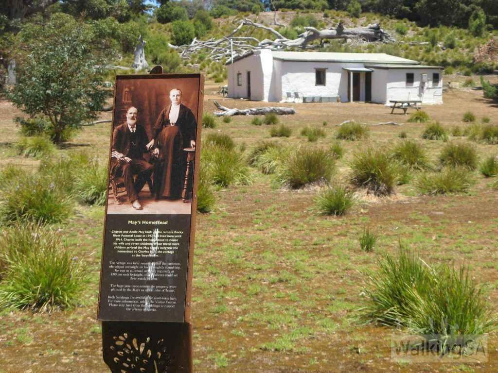 Interpretive signage at Mays Homestead on the Heritage Walk