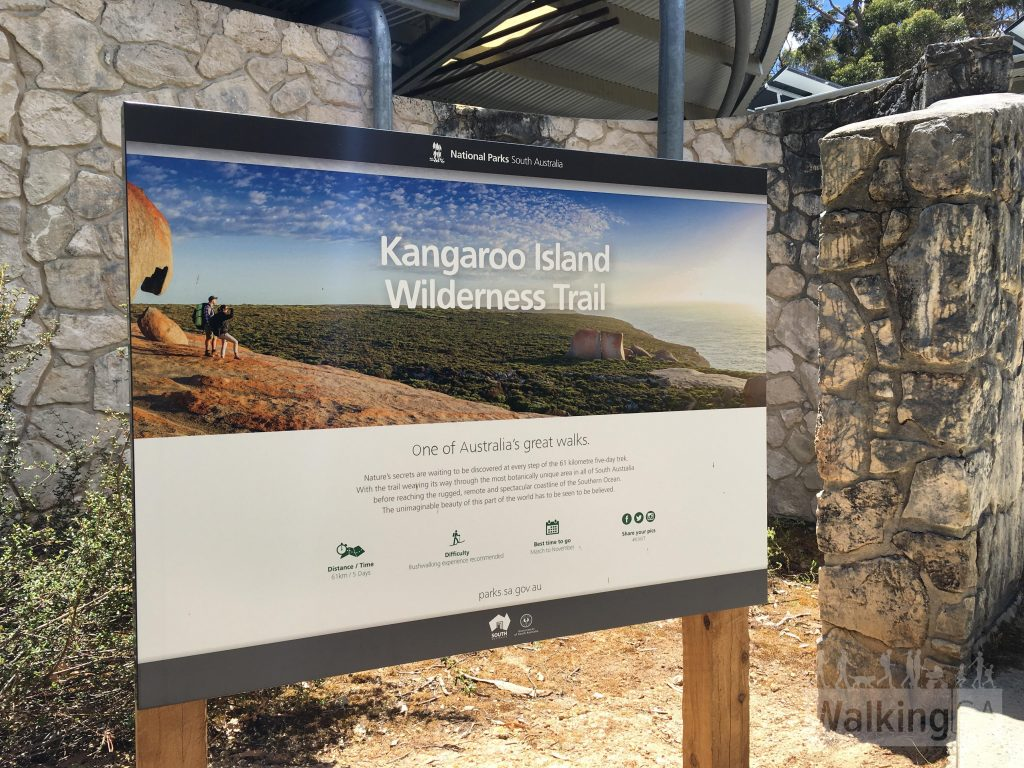 Kangaroo Island Wilderness Trail trailhead outside of the Flinders Chase Visitor Centre