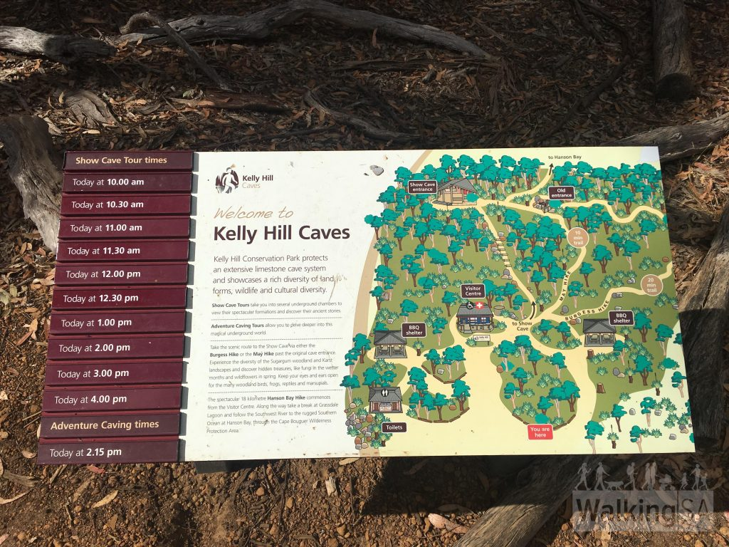Map of the Kelly Hills Caves area showing the Burgess Hike and May Walk, picnic area and dave tour times