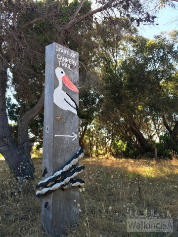 Sign at the trailhead of the Fish Cannery Walking Trail (also known as the Beach, Birds & Bush Walking Trail)