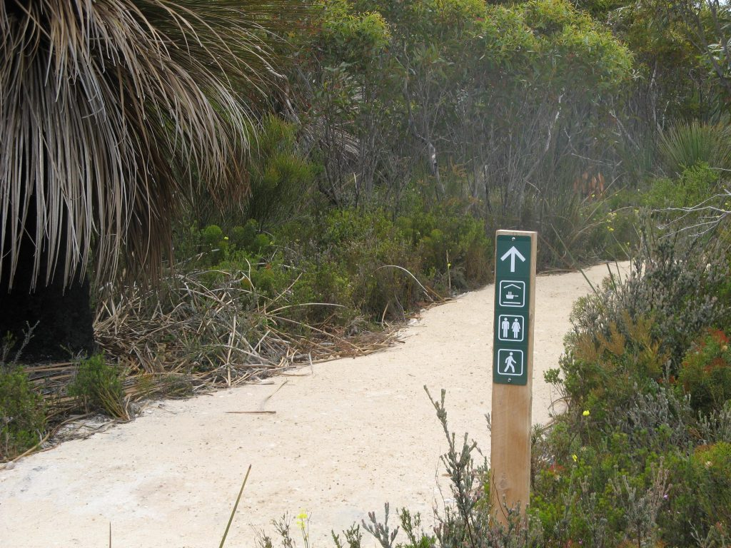 Signage around campgrounds is excellent, even pointing to the exit back to the trail, which is useful as the large campground with many trails can be disorientating.