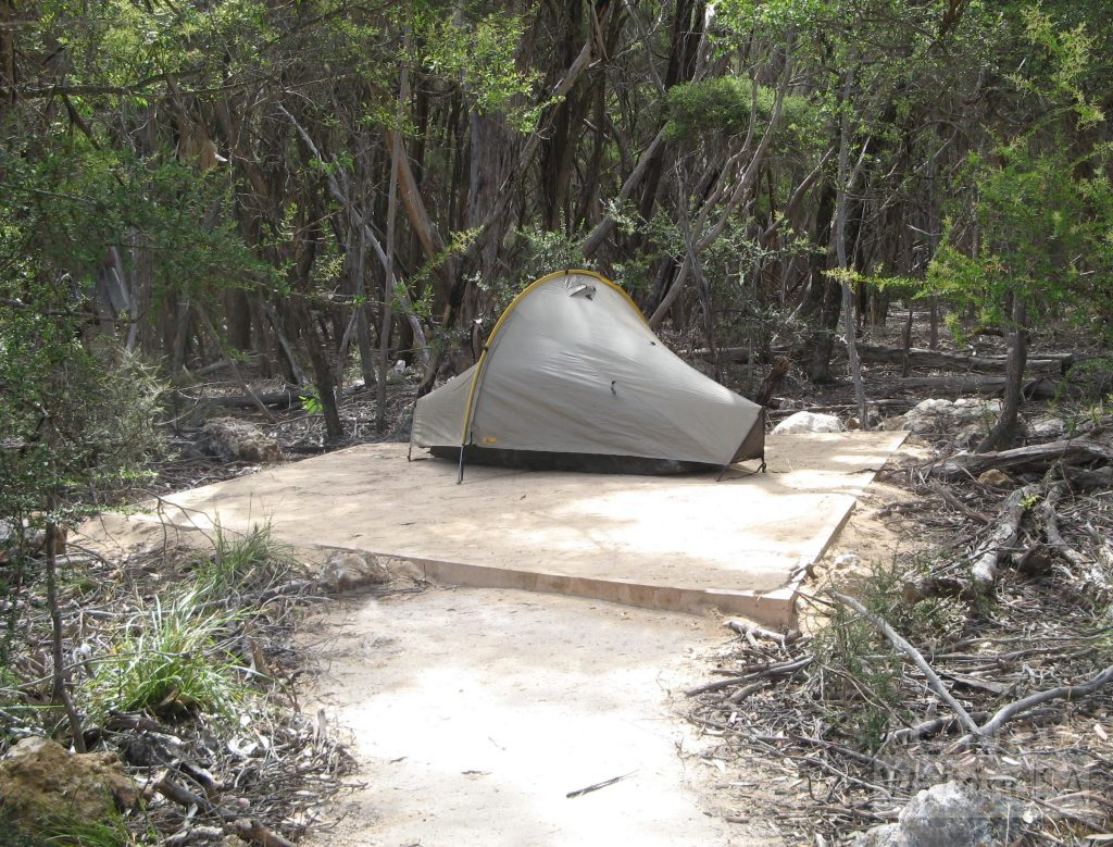 Tent site at Tea Tree Campsite, typical of camp sites at all 4 campgrounds