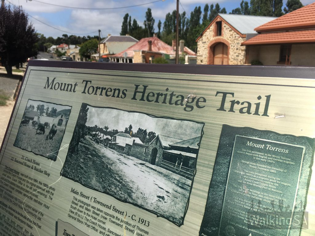 The main street of Mt Torrens, there are interpretive signs throughout the town