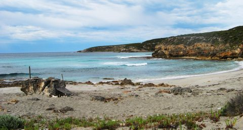 The remote Sanderson Beach, on the Kangaroo Island Wilderness Trail. The beach is only accessible by walkers on the trail.