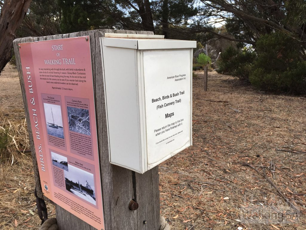 There are maps of the Beach, Birds & Bush Trail (Fish Cannery Walking Trail) available from the trailhead