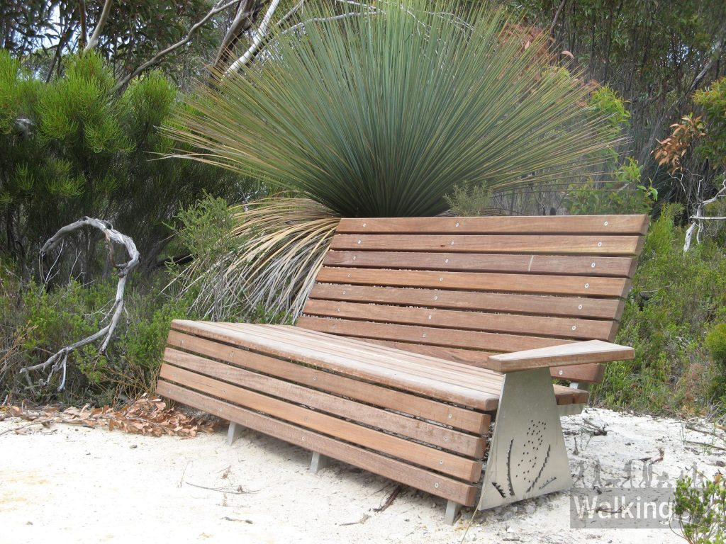 There are seats scattered throughout the campgrounds