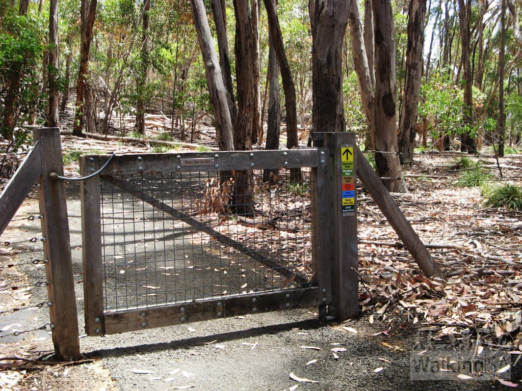 Through the gate are the many walking trails that leave from the Flinders Chase Visitor Centre