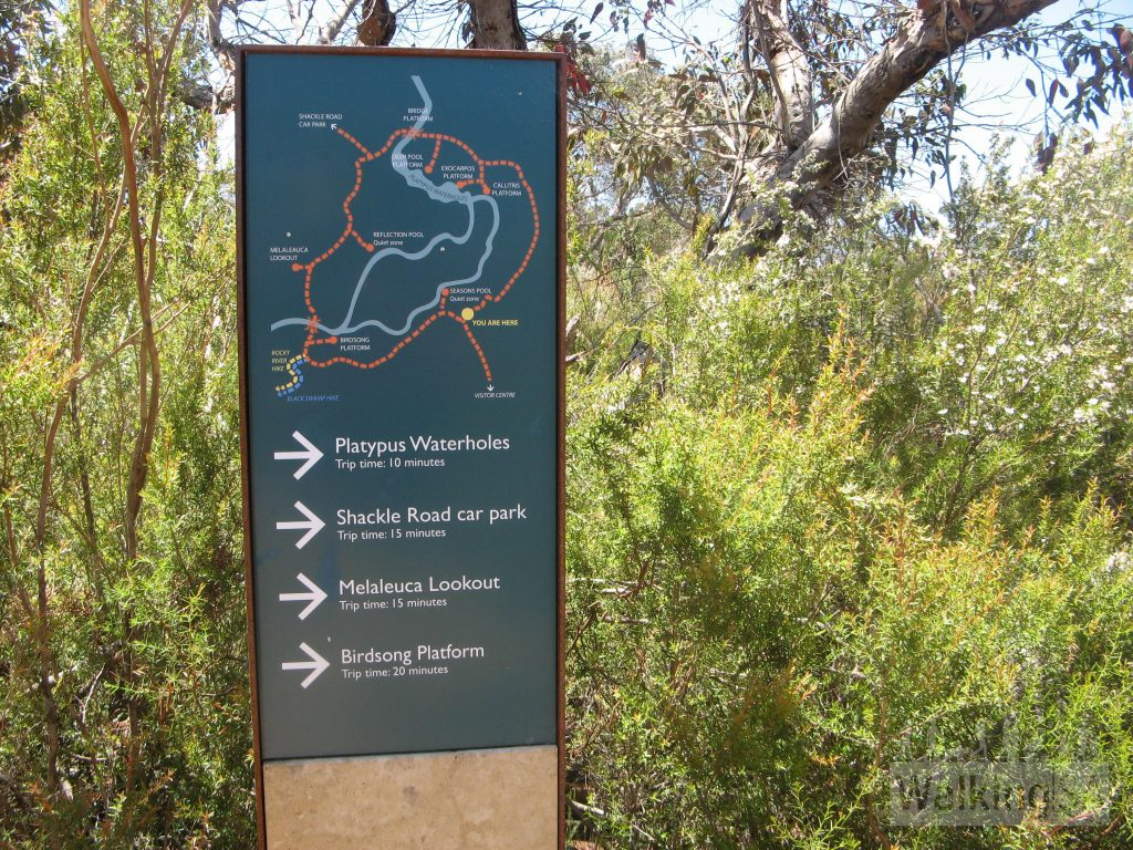 Trail map of the Playpus Waterholes Walk. Walkers need to walk anticlockwise (turn right)