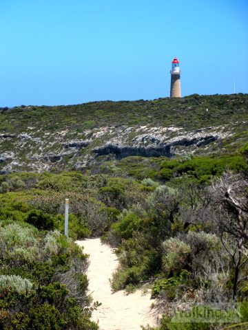 View of Cape du Couedic Lighthouse along the Weirs Cove Hike