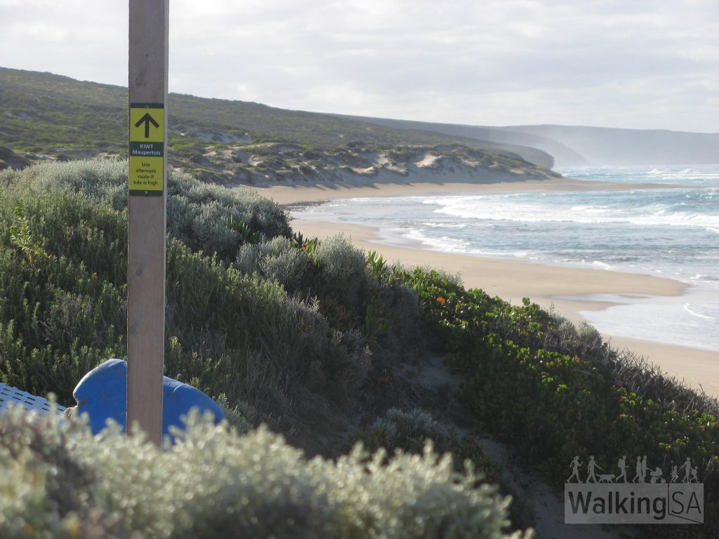 Where the trail enters Maupertuis Beach is clearly marked, with an alternate trail along the top of the sand dunes