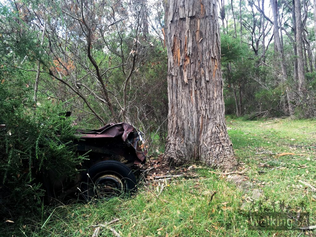 An old 1950s Vauxhall car abandoned near the mining heritage area in Porter Scrub Conservation Park
