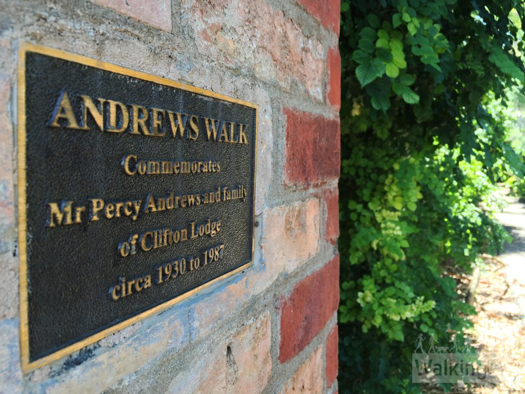 Andrews Walk commemorates Mr Percey Andrews and family of Clifton Lodge, circa 1930 to 1987