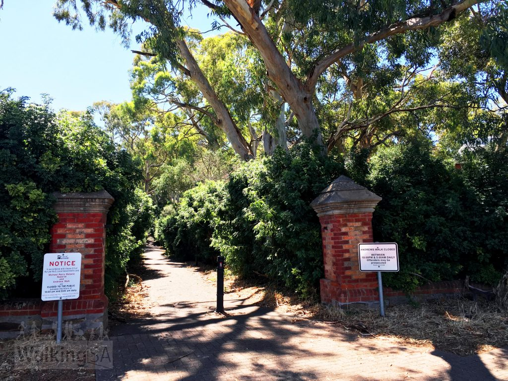Entrance gates to Andrews Walk. These gates were the original entrance to the historic 1852 house. The property was later subdivided