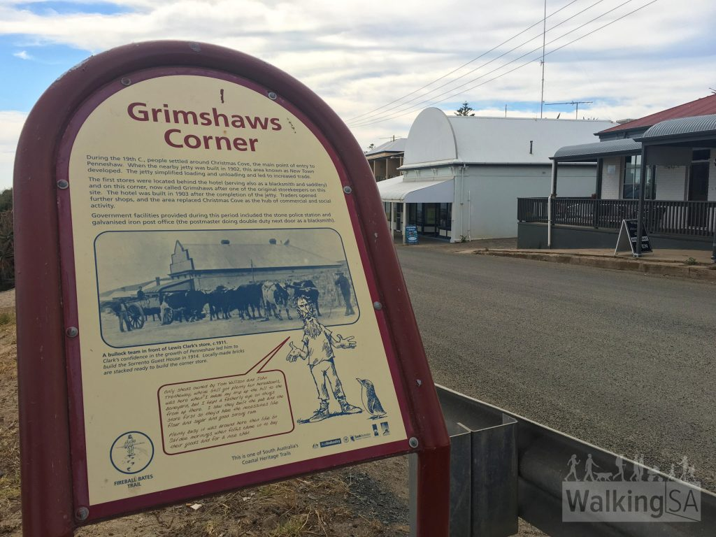 Grimshaws Corner was part of New Town, which arose after a jetty was built near the current jetty, replacing the landing area at Christmas Cove. Grimshaws Corner was named after one of the first storekeepers.