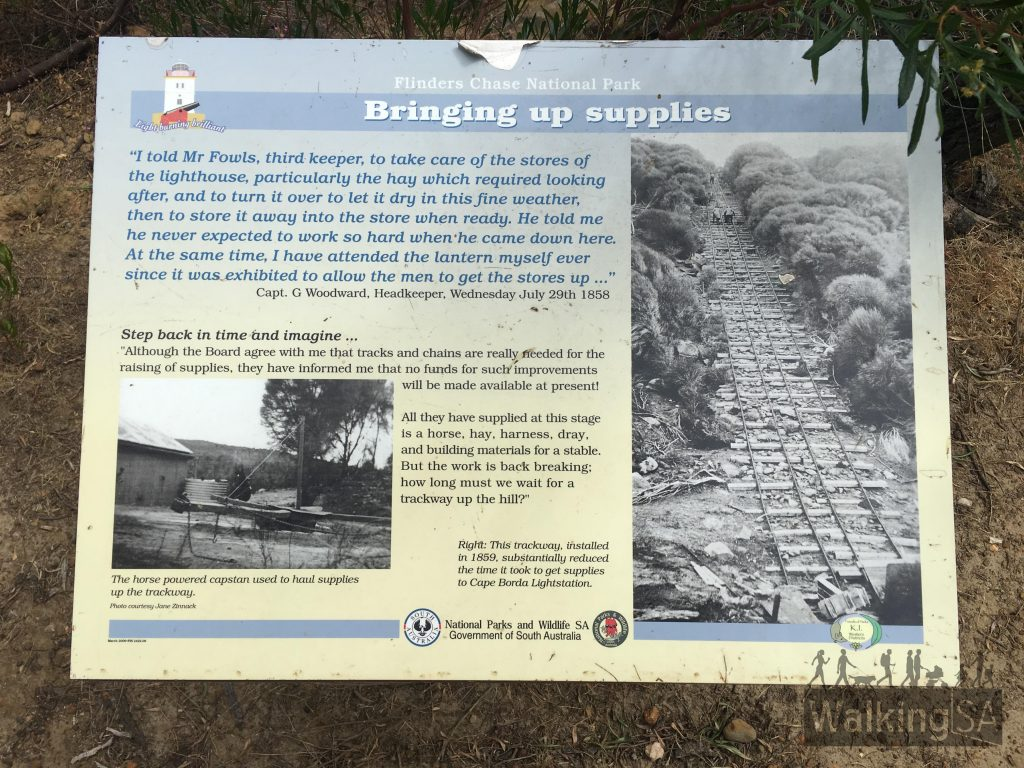 Interpretive sign about the trackway and horse winch used to haul supplies up