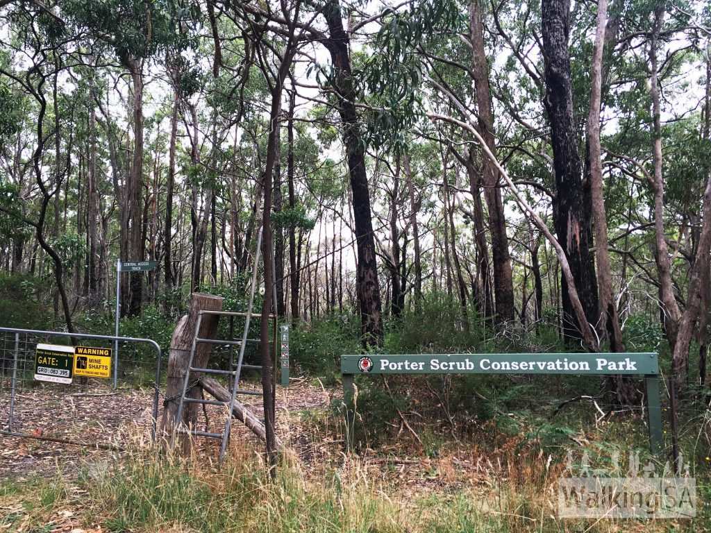 Main entrance to Porter Scrub Conservation Park at Gate 2, Maidment Road