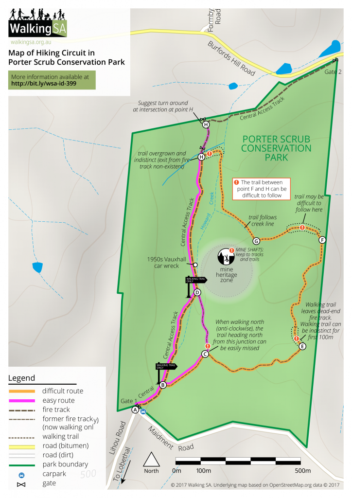 Central Park New York Map Pdf.Hiking Route In Porter Scrub Conservation Park Find A Place To Walk