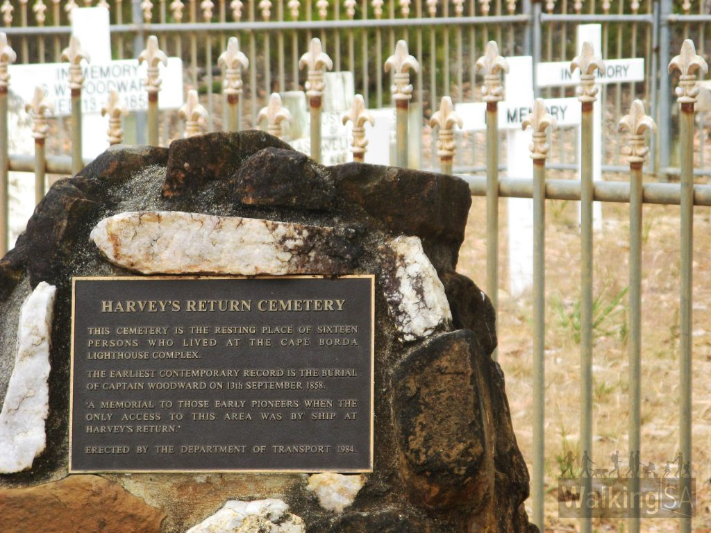 """The plaque reads: """"Harvey's Return Cemetery. This cemetery is the resting place of sixteen persons who lived at the Cape Borda Lighthouse complex. The earliest contemporary record is the burial of Captain Woodward on the 13th September 1858. 'A memorial to those early pioneers when the only access to this area was by ship at Harvey's Return.' Erected by the Department of Transport 1984."""""""