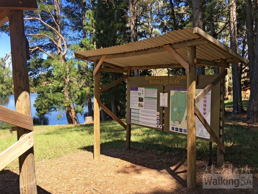 Trailhead and map signs at Lobethal Bushland Park