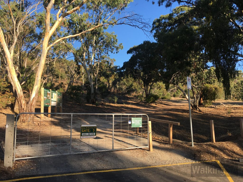 Gate 3 on Perserverance Road is one of the new carparks constructed in 2017 during the improvements to Anstey Hill Recreation Park