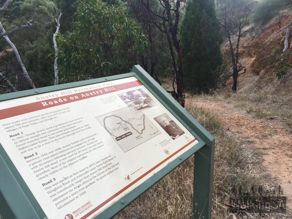 One of the interpretive signs describes the 3 historical road routes of Lower North East Road