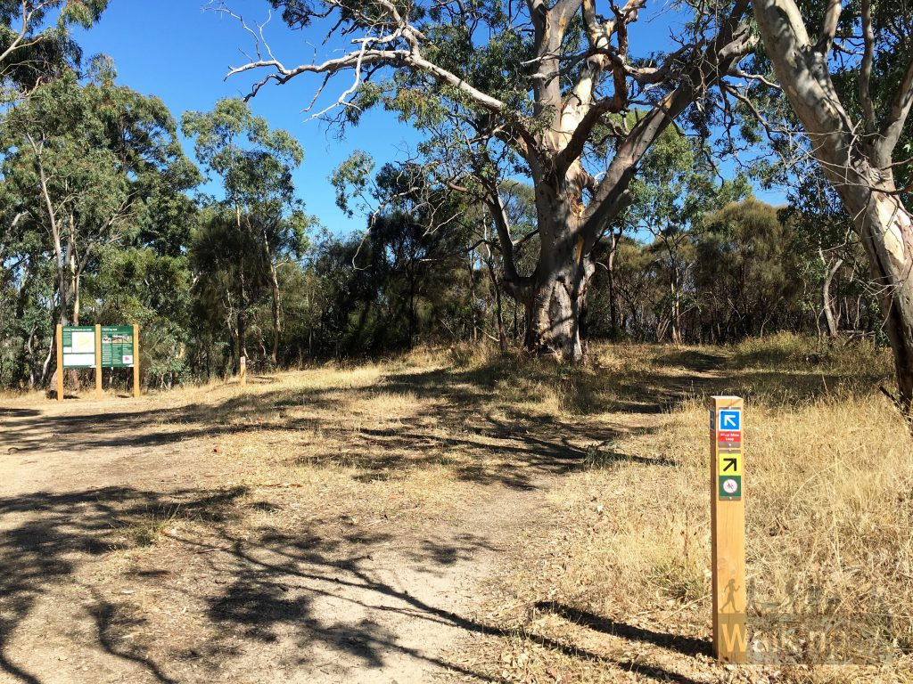 The trailhead of the Silver Mine Loop is on the corner of Ellis Way and Rosella Track