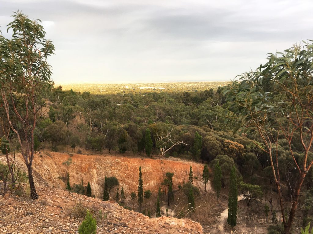 Views over the Adelaide Plains and into the quarry, on the Geological Hike
