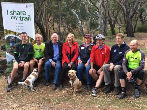 Representatives from each trail user group: walking, trail running, horse riding, cycling and mountain biking with Hon Ian Hunter MLC, Minister for Sustainability, Environment and Conservation and Annabel Digance, Member for Elder