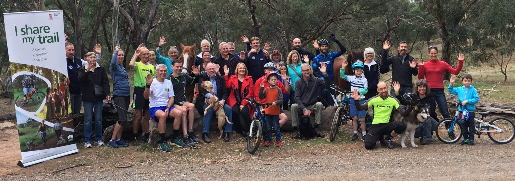 Representatives from trail user groups at the I Share My Trail launch: walking, trail running, horse riding, cycling and mountain biking with Hon Ian Hunter MLC, Minister for Sustainability, Environment and Conservation and Annabel Digance, Member for Elder