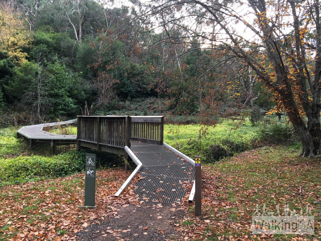 The bridge across the Sparkes Gully creek, at the trailhead of the RSL Walk.