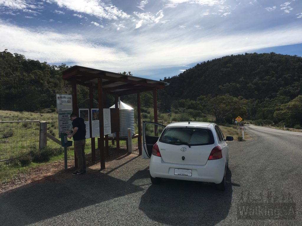 The self-registration station at the entrance to Warren Gorge