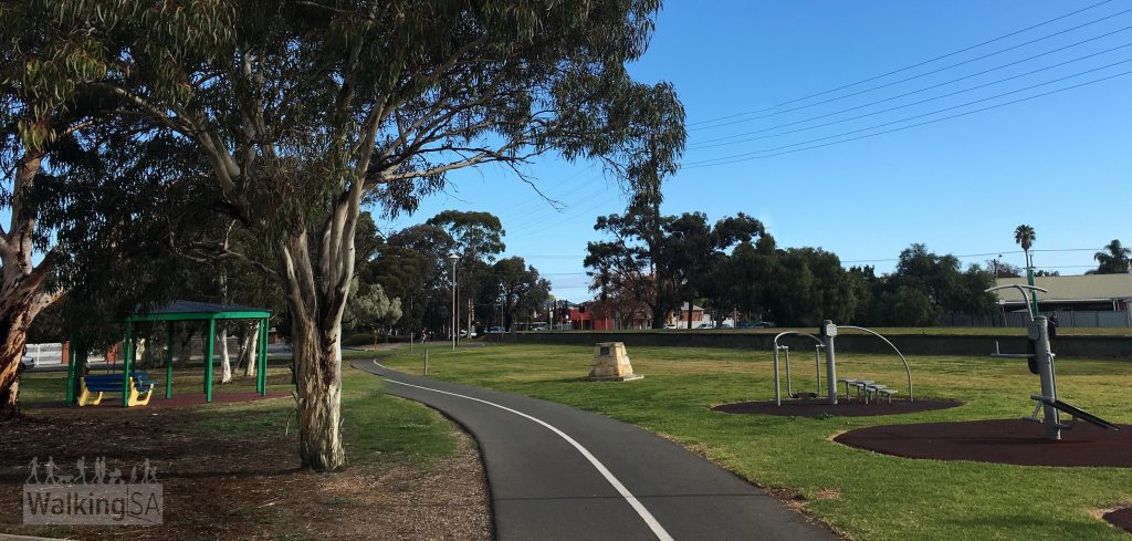 Most of the Westside Bikeway follows the linear park, with some shady trees, playgrounds and a dog park