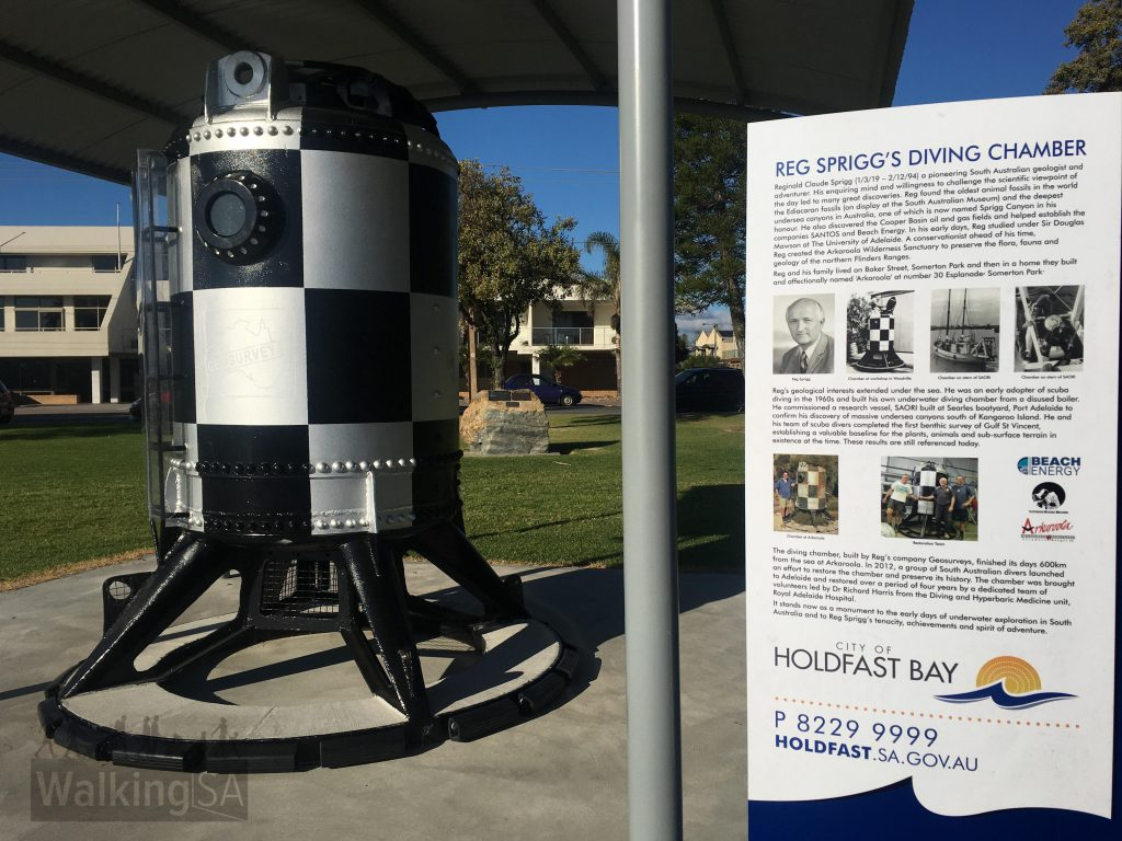 One of the historic sites include Reg Sprigg's underwater diving chamber built from a disused boiler. His underwater research included the discovery of massive undersea canyons south of Kangaroo Island. Reg lived for some time at nearby Somerton Park.
