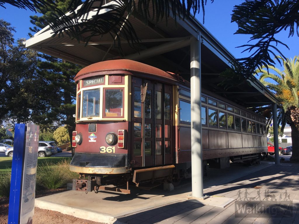 One of the historic sites include one of the original 1929 saloon-style trams, built for the new tramway when it was converted from use as a railway. It's on display in Wigley Reserve.