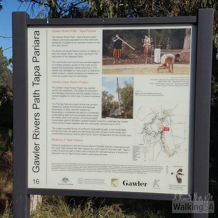 One of the interpretive signs, explaining the meaning of Tapa Pariara. Tapa is a Kaurna word for path or trail, pari is Kaurna for river and pariara is Kaurna for along the river, so Tapa Pariara means 'path along the river'.