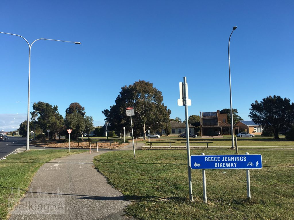 The northern end of the Reece Jennings Bikeway begins at the River Torrens in West Beach, and follows Tapleys Hill Road to the southern trailhead in Glenelg North. The Anna Meares Bike Path connects here at the northern end.