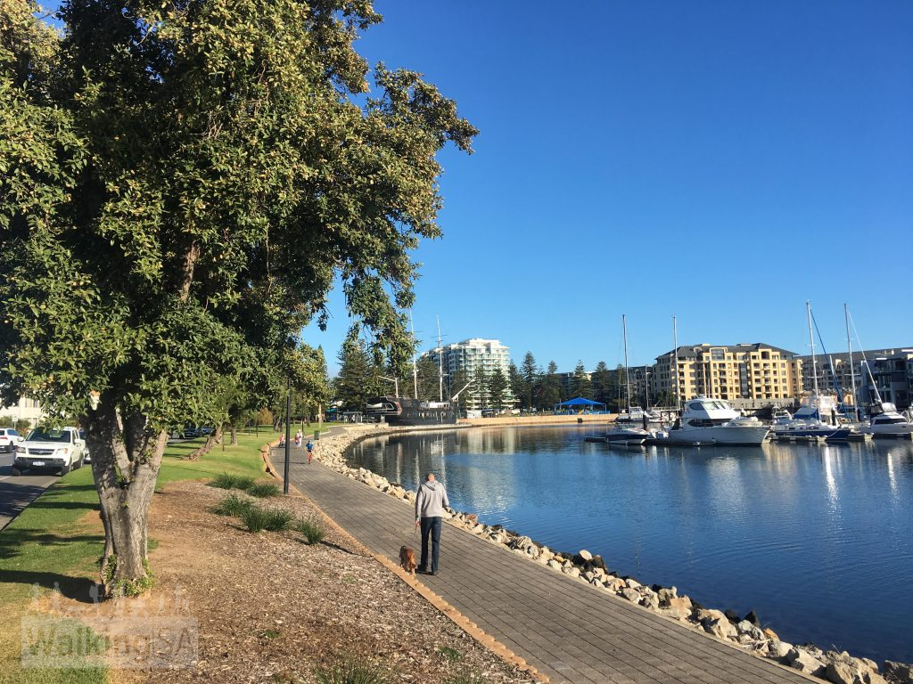 The pathway around the Patawalonga Lake makes an ideal morning or afternoon walk