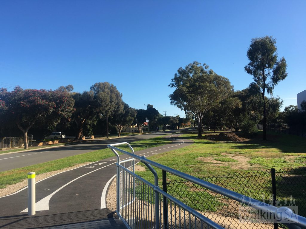 The trail is the most pleasant of the three Adelaide Airport Trails, as it passes through quiet open space, suburban and industrial areas