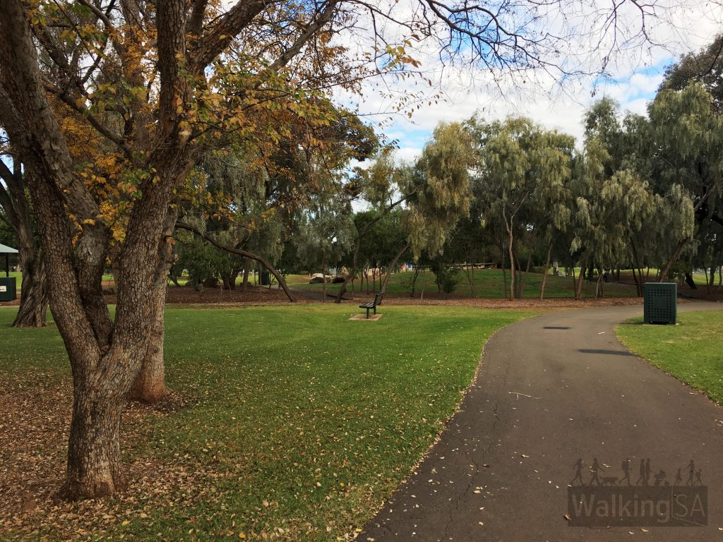 The two walking trails meander around Fremont Park past the lake and creeks